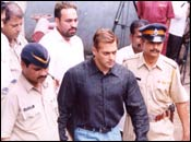 Salman Khan arrives in court. Pic: Arun Patil