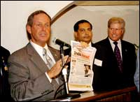 Joe Wilson with the IA copy carrying an exclusive interview with President Bush