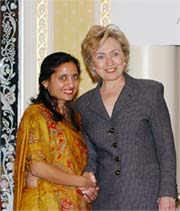 Sonal Shah with Hillary Clinton
