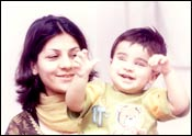 Talha with his mother, Kanwal