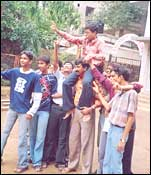 Durgesh is taken around by enthusiastic friends