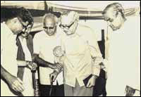 Madhu Deolekar (left) at the BJP's first national convention. To the extreme right is Vajpayee