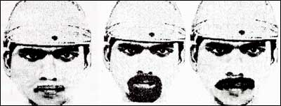 The suspect's sketch released by the Delhi police