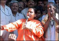Uma  Bharti addressing supporters in Madhya Pradesh