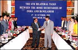 Union Home Secretary V K Duggal and his Bangladesh counterpart Safar Raj Hussain