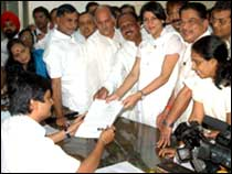 Congress candidate Priya Dutt filing her nomination papers for the November 19 by-election to the Mumbai North West Mumbai Lok Sabha seat.