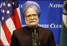 Prime Minister Dr Manmohan Singh addresses the National Press Club on July 20, 2005, in Washington, DC, a day after US President George W Bush proposed lifting the ban on civilian nuclear technology sale to nuclear armed India.MANDEL NGAN/AFP/Getty Images)