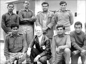 Standing from left: Lieutenant A G J Sweetens, late Major S S Chaudhuri (with an eye patch) , Captain M F Dastoor, the author, Captain Anil Athale. Sitting: Lieutenant G R Chaudhari, a Red Cross official, Captain Mehrotra and Lieutenant Gurung at the Lyallpur Jail in Pakistan. This picture was sent by the Red Cross official seen here to Captain Athale's family.