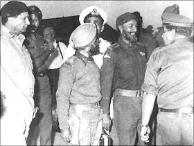 From left: Niazi, Brigadiers Sant Singh and Shubeg Singh and Jacob just before the signing of the instrument of surrender