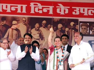 Sonia Gandhi at the rally