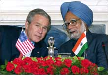 US President George Bush and Prime Minister Manmohan Singh at the joint press conference in New Delhi on Thursday morning