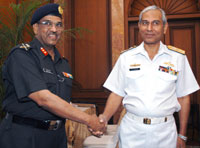 Major General M Gopal Rao, Surveyor General of India (left) with Rear Admiral Ahsanul-Haq-Chaudri, Additional Secretary, Defence, Pakistan prior to the the Indo-Pak delegation level talks on Sir Creek, in New Delhi, on May 25.