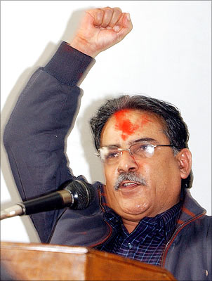 Maoist chairman Prachanda speaking in Kathmandu