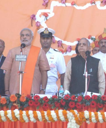 Gujarat Chief Minister Narendra Modi and Governor Nawal Kishore Sharma at the swearing in ceremony on Tuesday