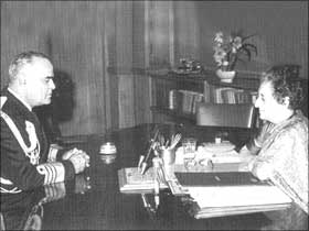Image: Admiral SM Nanda with Prime Minister Indira Gandhi after he took over as Chief of Naval Staff on March 1, 1970. CLICK HERE FOR STORY