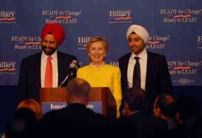 Presidential hopeful Senator Hillary Clinton with the Chatwals