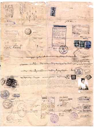 A passport which belonged to Tsepon Shakabpa, the Tibetan government's envoy in the 1940s