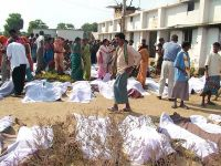 Locals search for the bodies of relatives who were killed in the Naxalite attack in Dantewada on Thursday morning.