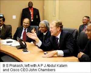 B S Prakash, left with A P J Abdul Kalam and Cisco CEO John Chambers