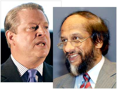 Al Gore (left) and Dr R K Pachauri of the IPCC, the winners of the 2007 peace Nobel