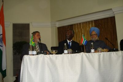 Prime Minister Manmohan Singh at the second IBSA summit in Pretoria