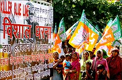 BJP protests against the Blueline buses
