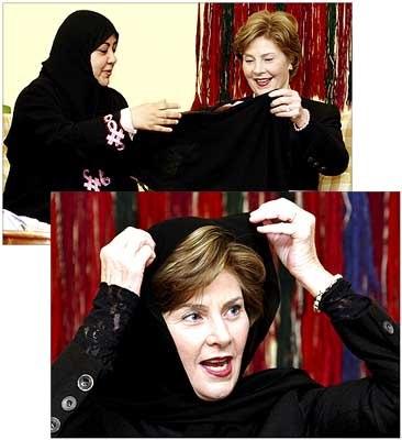The Huffington Post: Laura Bush Dons Hijab, Will Opprobrium Follow?