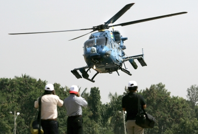 The Dhruv helicopter during an air show