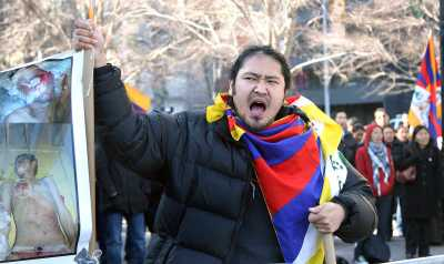 Tibetans protest against China near the United Nations headquarters in New York on Wednesday