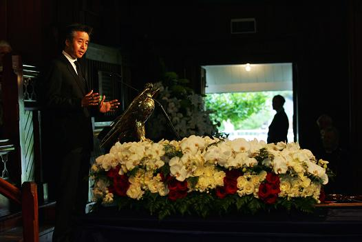 Norbu Norgay, son of Tenzing Norgay, at the state funeral of Sir Edmund Hillary