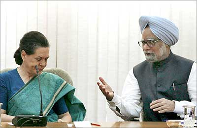Congress President Sonia Gandhi with the PM