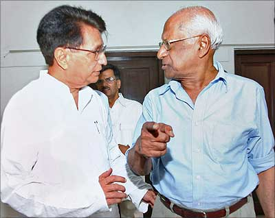 Communist Party of India General Secretary A B Bardhan with Rashtriya Lok Dal president Ajit Singh in New Delhi on Thursday