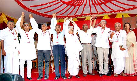 Communist Party of India - Marxist General Secretary Prakash Karat (3rd Right) and Communist Party of India General Secretary A B Bardhan (4th Left) with senior CPI-M leaders during the 19th party congress in Coimbatore on Saturday.