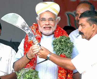 Gujarat Chief Minister Narendra Modi at a rally in Bangalore on Tuesday.