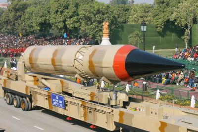 A replica of the Agni-III missile being showcased at the Republic Day parade in 2008