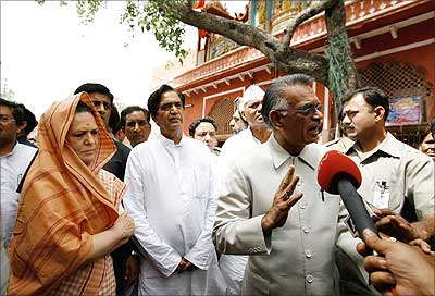 Congress president Sonia Gandhi and Home Minister Shivraj Patil visit the sites of the serial bomb blasts, which rocked Jaipur, on Thursday.