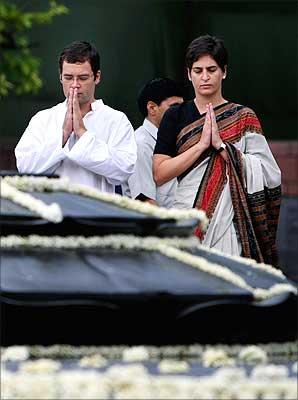 Priyanka Vadra, daughter of former prime minister Rajiv Gandhi, with her brother and Congress leader Rahul Gandhi at Vir Bhumi