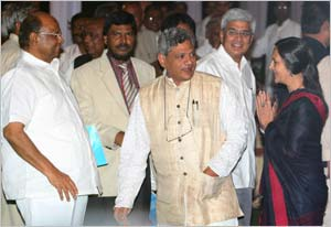Sharad Pawar, Prakash Ambedkar, Sitaram Yechuri, Prakash and Brinda Karat