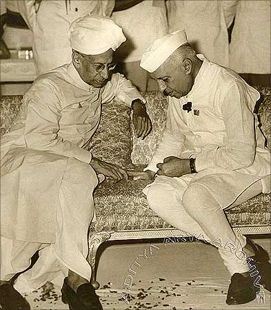 Nehru with Dr Sarvepalli Radhakrishnan, India's second President.