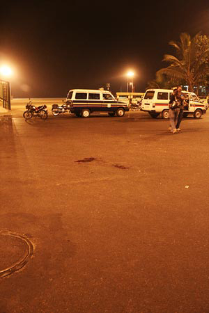 A view of the area at Chowpatty, south Mumbai, where Ajmal Kasab was captured