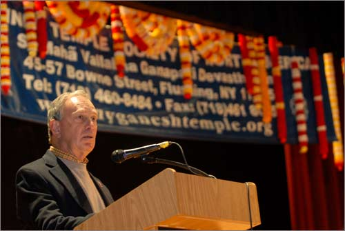 New York Mayor Michael Bloomberg address the Indian-American community at the Hindu Temple Society of North America in Queens, New York City, during a prayer service for victims of the Mumbai terror attacks on November 27, 2008