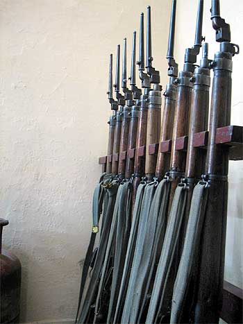 A police stattion in Bangalore armed with World War era weapons