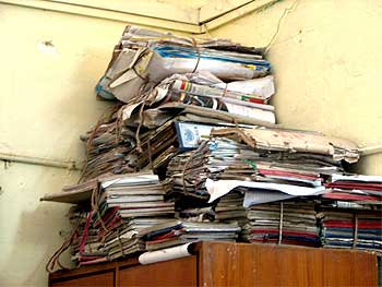 Records stacked up in a police station in Bengaluru