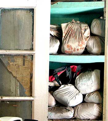 Evidence stored in sheets at an unprotected area of a police station