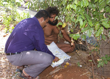 Krishnan often feeds them with his hands