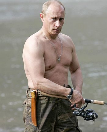 Vladimir Putin fishes in the Khemchik River