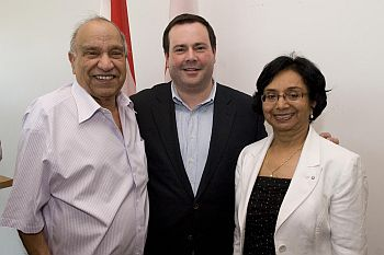 Members of the Committee (from left) Jack Uppal, Immigration Minister Jason Kenney and Prof. Ratna Ghosh