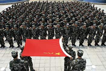 Chinese People's Liberation Army troops celebrate the PLA's 82nd anniversary.