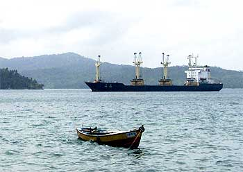 The North Korean ship MV Musan, which was detained by the Indian Coast Guard after a six-hour chase, anchored near Port Blair. The ship had entered Indian waters without the requisite permission or documents.