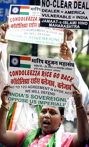 An activist protests the India-US nuclear deal in Mumbai.